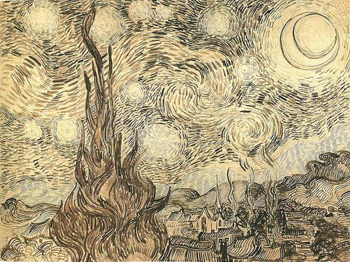 The drawing Cypresses in Starry Night, a reed pen copy executed by Van Gogh after the painting in 1889.